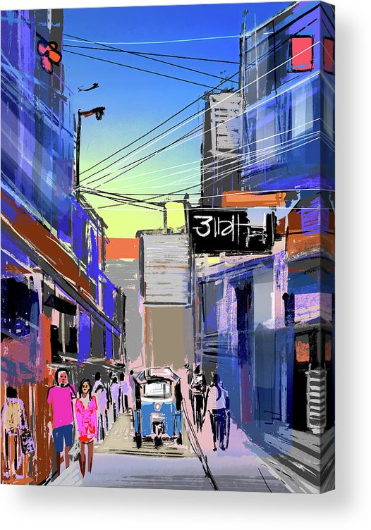 Cityscape Acrylic Print featuring the digital art Bangkok City by Anil Nene