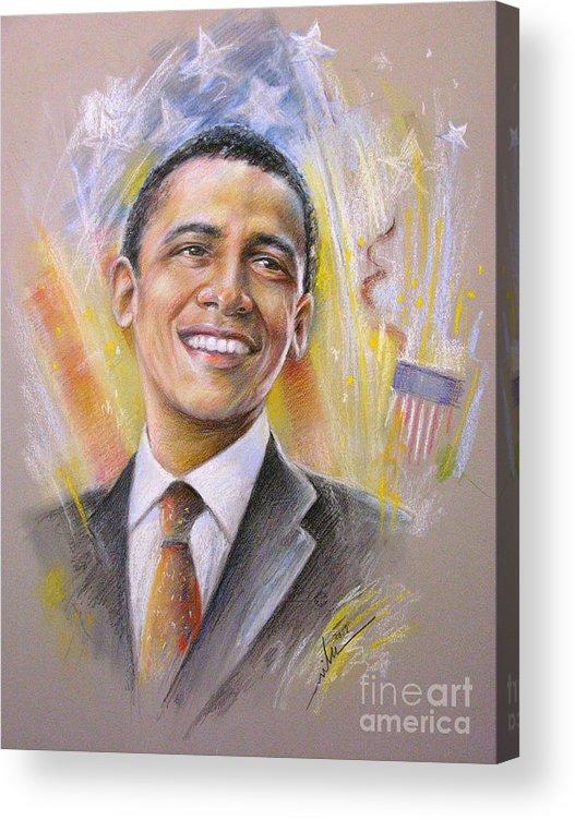 Portrait Barack Obaam Acrylic Print featuring the painting Barack Obama Portrait by Miki De Goodaboom