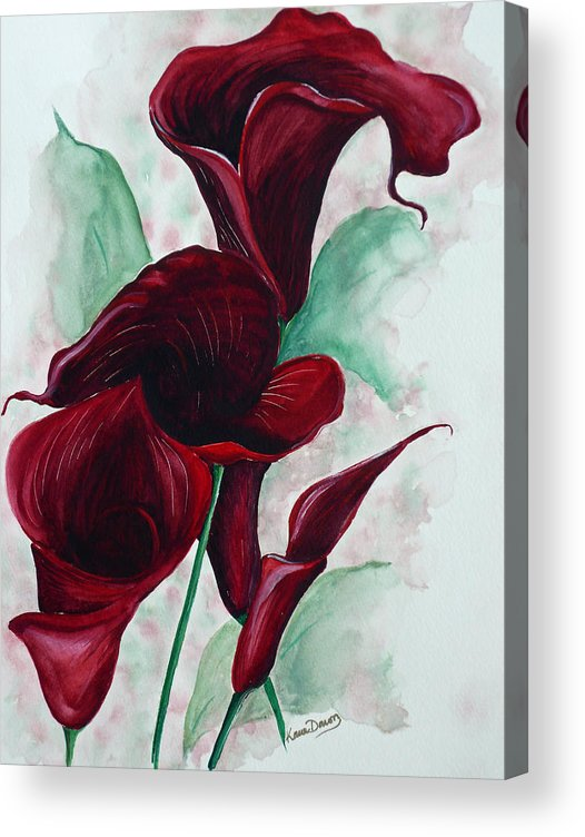 Flower Painting Floral Painting Botanical Painting Tropical Painting Caribbean Painting Calla Painting Red Lily Painting Deep Red Calla Lilies Original Watercolor Painting Acrylic Print featuring the painting Black Callas by Karin Dawn Kelshall- Best