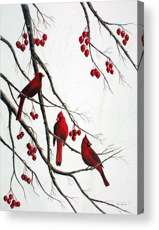 Birds; Cardinals; Trees Acrylic Print featuring the painting Cardinals And Crabapples by Ben Kiger