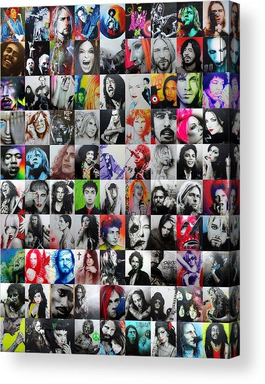 Kurt Cobain Acrylic Print featuring the painting CCArt Mosaic - Series I by Christian Chapman Art