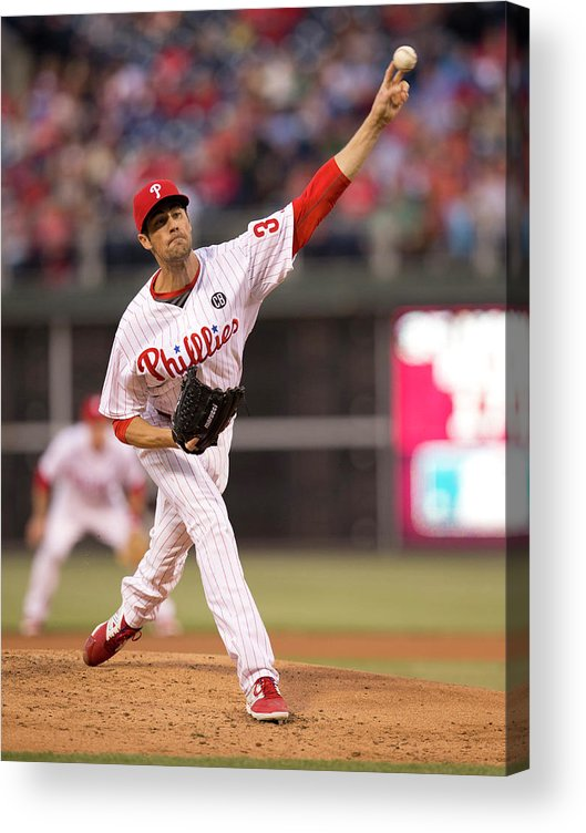 People Acrylic Print featuring the photograph Cole Hamels by Mitchell Leff