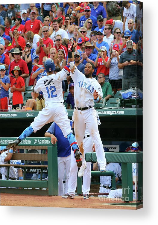 People Acrylic Print featuring the photograph Elvis Andrus And Rougned Odor by Rick Yeatts