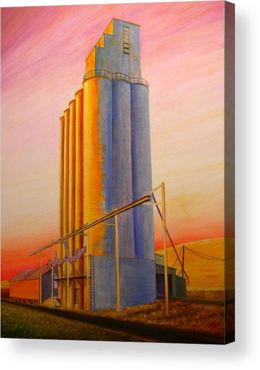 Grain Acrylic Print featuring the painting Endicotte Silos by Leonard Heid