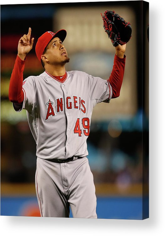 American League Baseball Acrylic Print featuring the photograph Ernesto Frieri by Otto Greule Jr