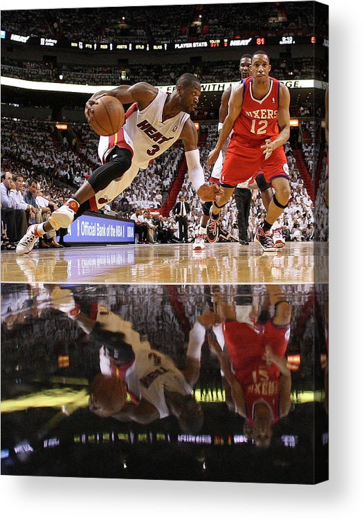 Playoffs Acrylic Print featuring the photograph Evan Turner and Dwyane Wade by Mike Ehrmann