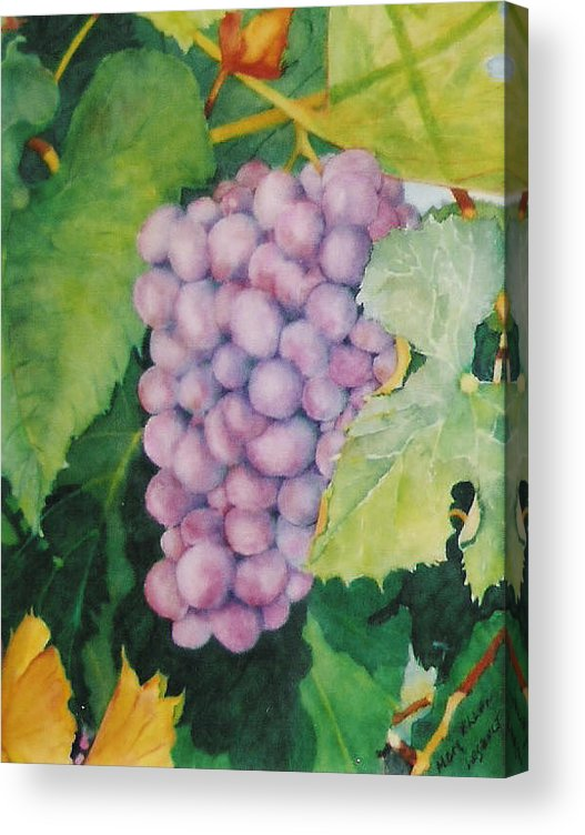 Grapes Acrylic Print featuring the painting Grapes by Mary Ellen Mueller Legault