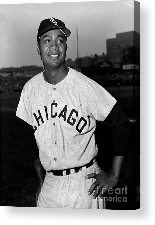 People Acrylic Print featuring the photograph Jackie Robinson and Larry Doby by Kidwiler Collection