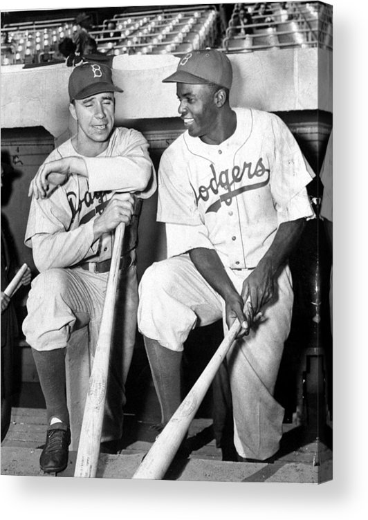 American League Baseball Acrylic Print featuring the photograph Jackie Robinson and Pee Wee Reese by New York Daily News Archive