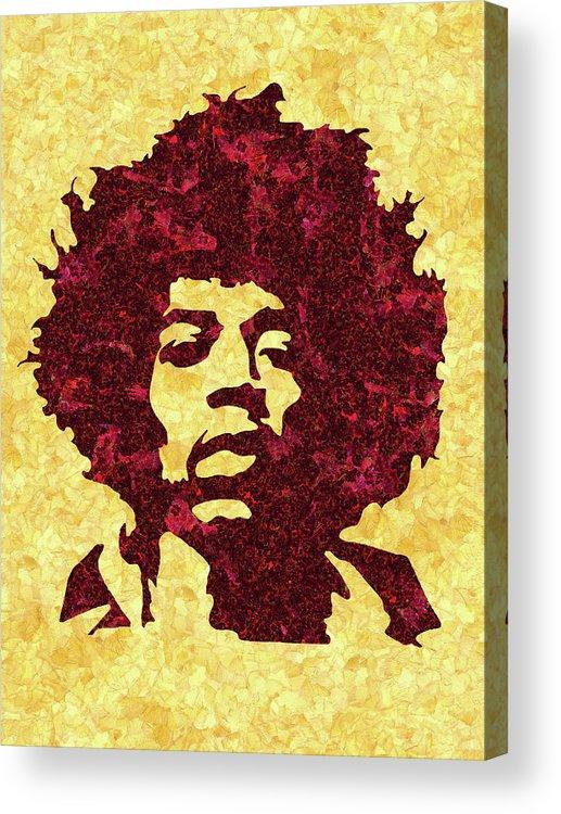 Jimi Hendrix Print Acrylic Print featuring the mixed media Jimi Hendrix Print, Jimi Hendrix Poster, Rock Music Lovers Gift by Irina Pospelova
