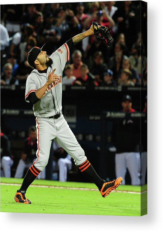 Atlanta Acrylic Print featuring the photograph Justin Upton and Sergio Romo by Scott Cunningham