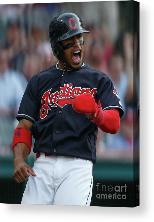 Three Quarter Length Acrylic Print featuring the photograph Michael Brantley and Francisco Lindor by Ron Schwane