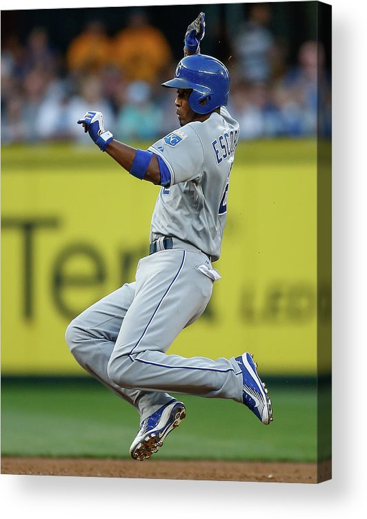 People Acrylic Print featuring the photograph Mike Moustakas and Alcides Escobar by Otto Greule Jr