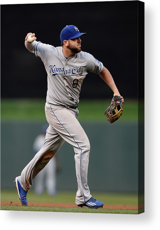 People Acrylic Print featuring the photograph Mike Moustakas and Trevor Plouffe by Hannah Foslien