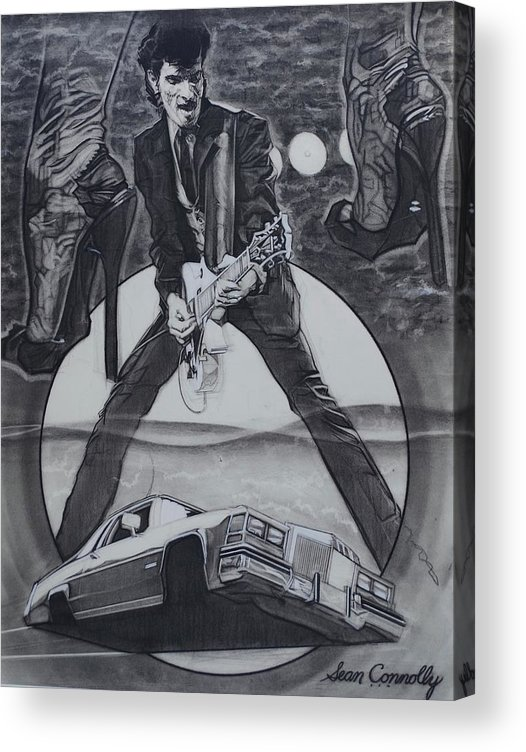 Charcoal Pencil On Paper Acrylic Print featuring the drawing Mink DeVille by Sean Connolly