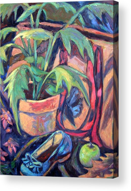 Plant Acrylic Print featuring the painting My Old Shoe by Kendall Kessler