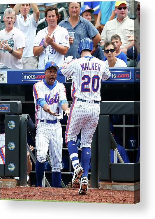 American League Baseball Acrylic Print featuring the photograph Neil Walker and Curtis Granderson by Jim Mcisaac