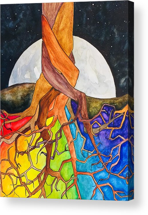 Rainbow Acrylic Print featuring the painting Rainbow Soil with Moon by Vonda Drees