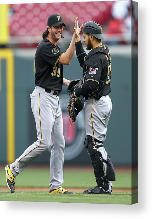 Great American Ball Park Acrylic Print featuring the photograph Russell Martin and Jason Grilli by Andy Lyons