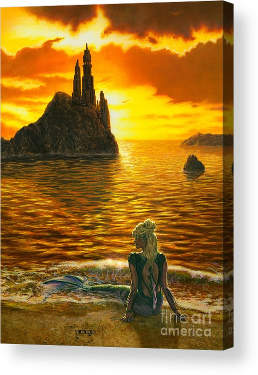 Mermaid Acrylic Print featuring the painting The Golden Girl by Stu Shepherd