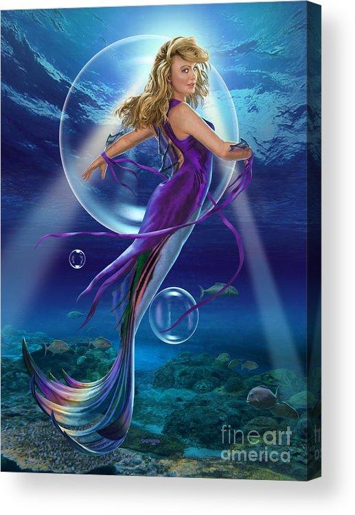 Mermaid Acrylic Print featuring the digital art The SeaDancer by Stu Shepherd