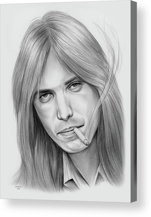 Tom Petty Acrylic Print featuring the drawing Tom Petty - Pencil by Greg Joens