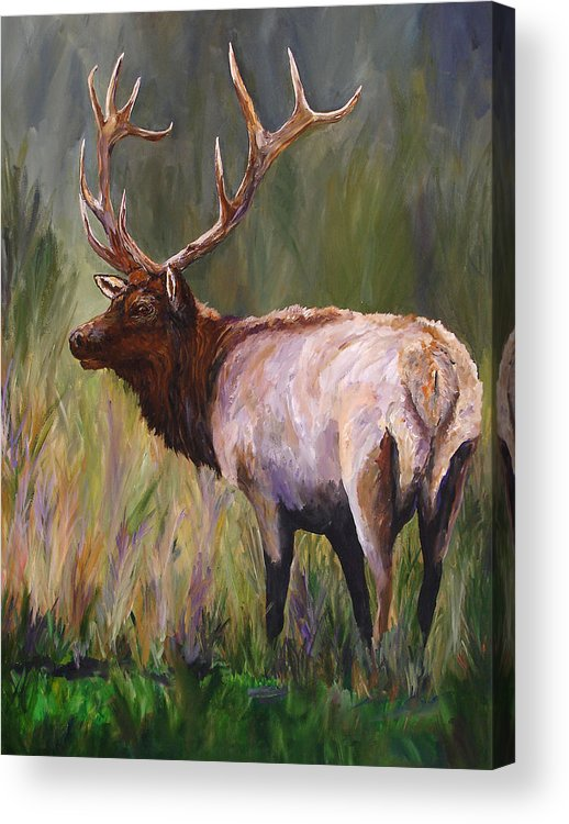 Elk Wildlife Art Acrylic Print featuring the painting Whapiti - ELK Now Avaliable by Mary Jo Zorad