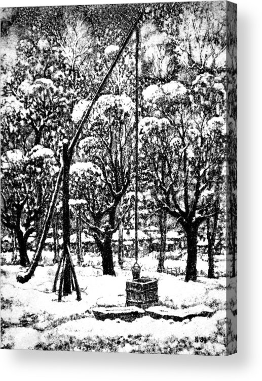 Winter Acrylic Print featuring the drawing Winter Landscape by Iliyan Bozhanov