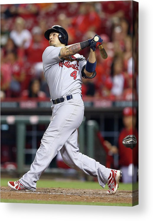 Great American Ball Park Acrylic Print featuring the photograph Yadier Molina by Andy Lyons