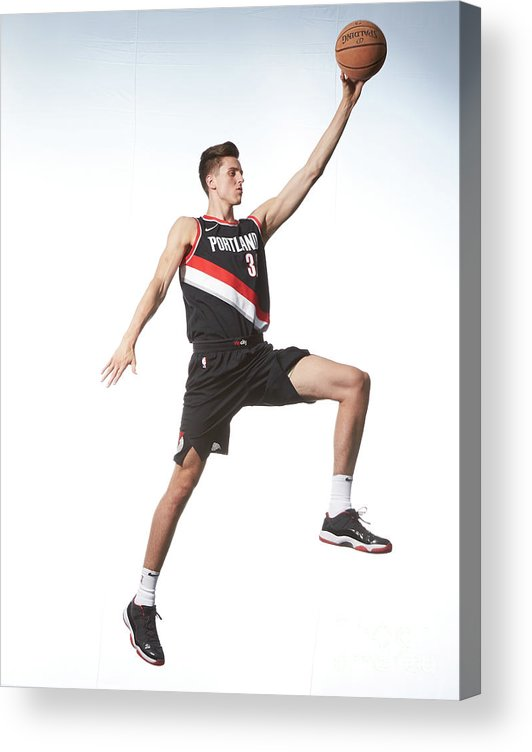 Nba Pro Basketball Acrylic Print featuring the photograph Zach Collins by Nathaniel S. Butler