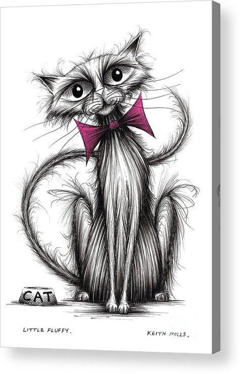 Little Fluffy Acrylic Print featuring the drawing Little Fluffy by Keith Mills