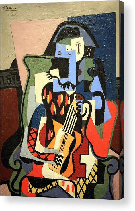Harlequin Musician Acrylic Print featuring the photograph Picasso's Harlequin Musician by Cora Wandel