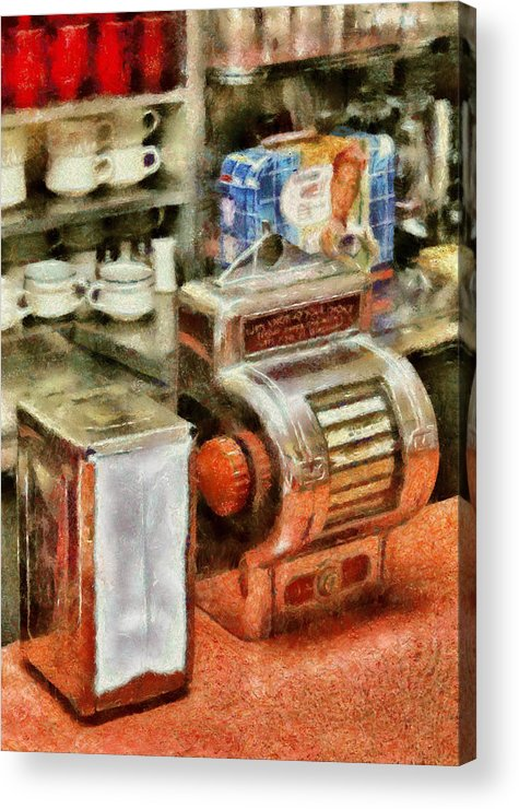 American Diner Acrylic Print featuring the photograph 1950's - The Greasy Spoon by Mike Savad