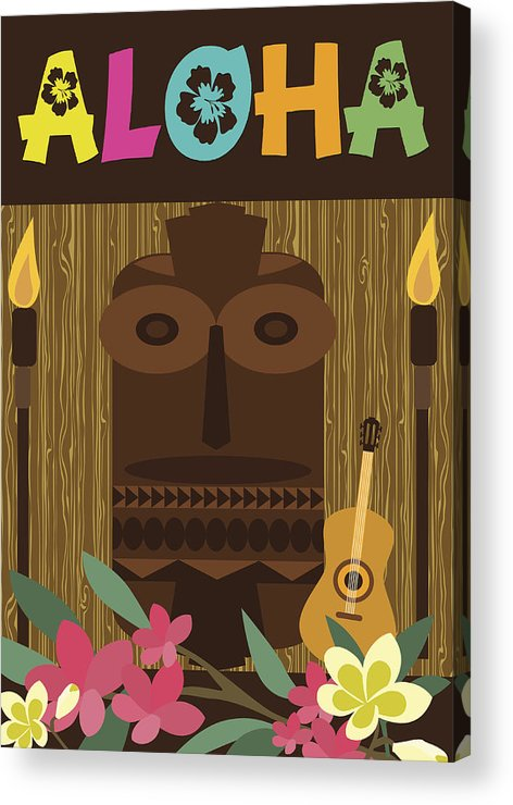 A Cartoon Of Aloha Party Graphics Acrylic Print