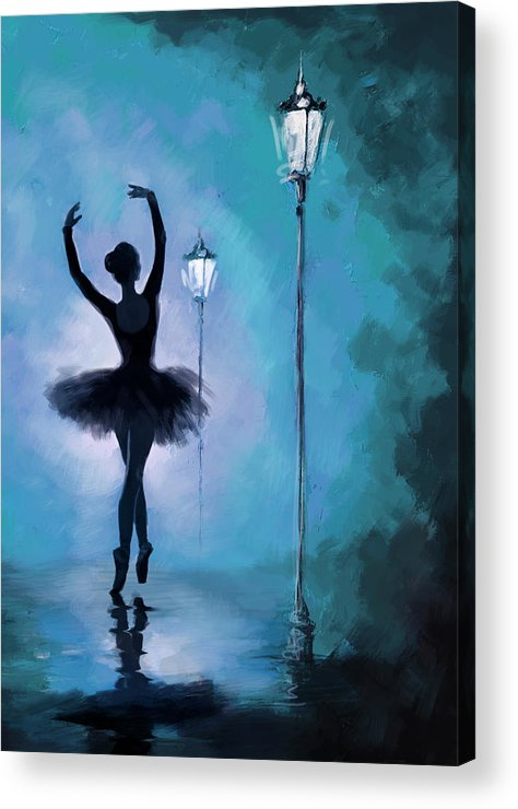 Ballet Dancer Acrylic Print featuring the painting Ballet In The Night by Corporate Art Task Force
