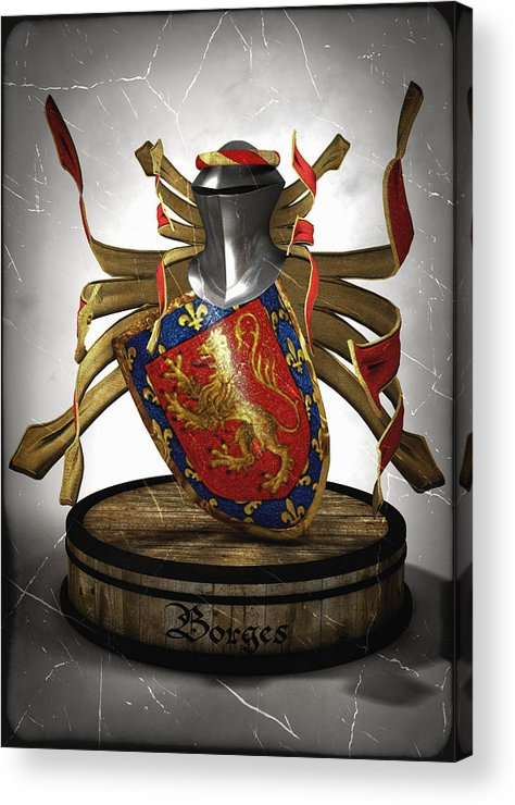 Medieval Acrylic Print featuring the digital art Borges Family Coat Of Arms by Frederico Borges