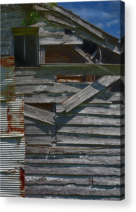 There Are Many Layers Of Material On This Old House. Acrylic Print featuring the photograph Building Materials by Murray Bloom