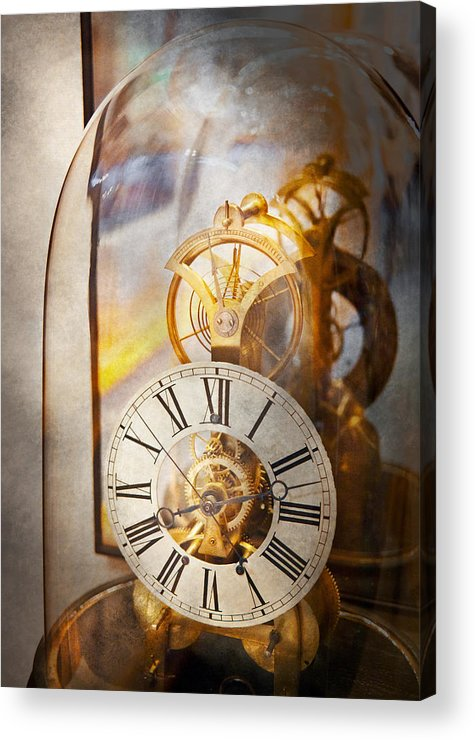 Clockmaker Acrylic Print featuring the photograph Clockmaker - A Look Back In Time by Mike Savad