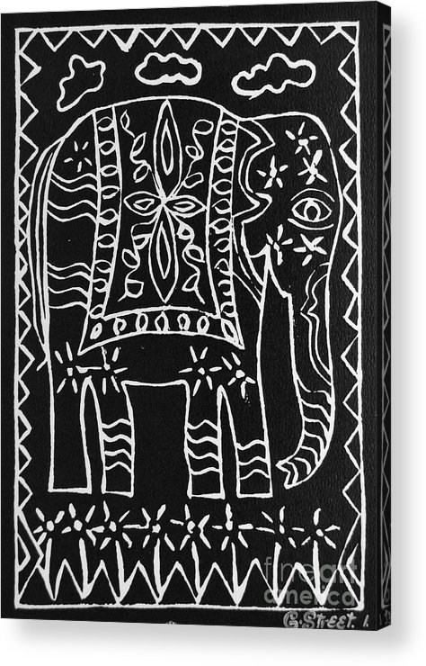 Lino Cut Acrylic Print featuring the relief Decorated Elephant by Caroline Street