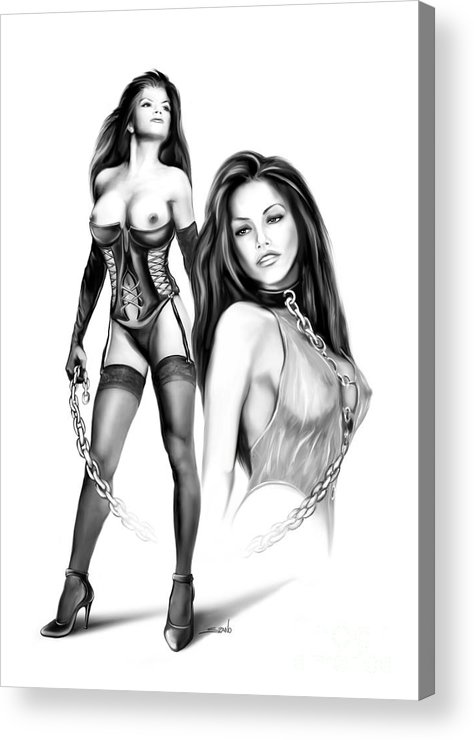 Spano Acrylic Print featuring the painting Erotic Lesbian Pet By Spano by Michael Spano