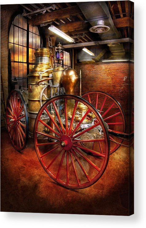 Suburbanscenes Acrylic Print featuring the photograph Fireman - One Day A Long Time Ago by Mike Savad