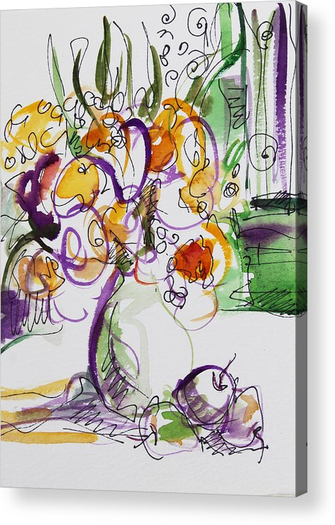 Flowers Acrylic Print featuring the painting Flowers With Purple Hint by Becky Kim