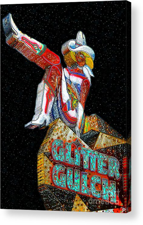 Art Acrylic Print featuring the painting Glitter Gulch Girl by David Lee Thompson