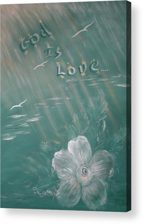 Christian Art Acrylic Print featuring the painting God Is Love by Mary Grabill