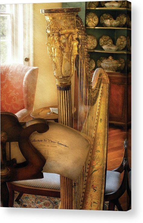Savad Acrylic Print featuring the photograph Music - Harp - The Harp by Mike Savad