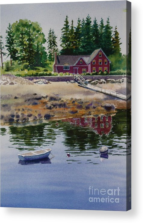 Pine Trees Acrylic Print featuring the painting Newagen Dingy by Karol Wyckoff