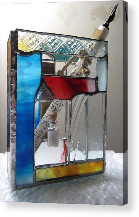 Acrylic Print featuring the painting Poet Windowsill Box - Other View by Karin Thue