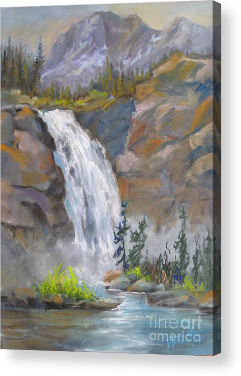 Background Acrylic Print featuring the painting Precipitous Falls by Mohamed Hirji
