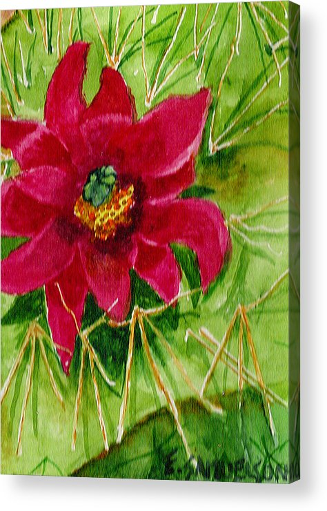 Red Acrylic Print featuring the painting Red Prickly Pear by Eric Samuelson