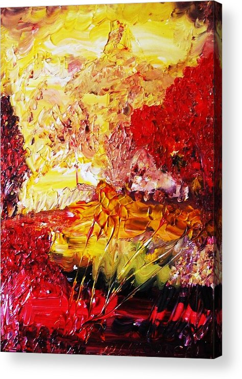 Fall Landscapefigurative Surrealist Expressionism Conceptual Abstract Dance Love Poetry Nature Acrylic Print featuring the painting Somewhere Falling For You by Carmen Doreal